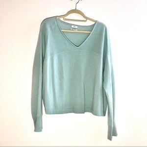 Vince 100% Cashmere Mint Vneck Sweater Sz XL